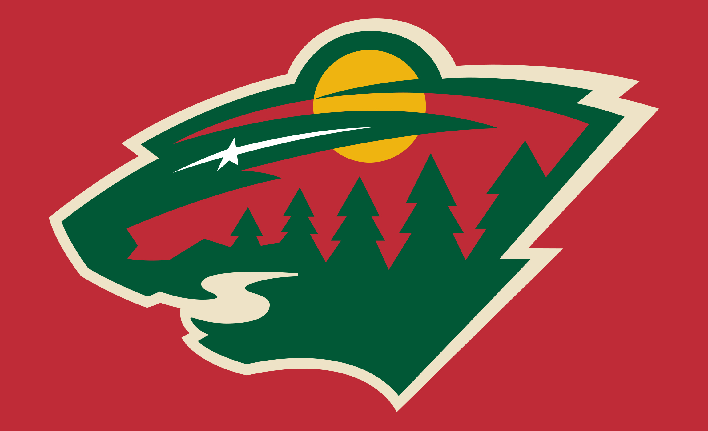 The Minnesota Wild Logo Itself Is Built Around A Forest Landscape It Nighttime As Star Or Even Comet Can Be Seen In Sky