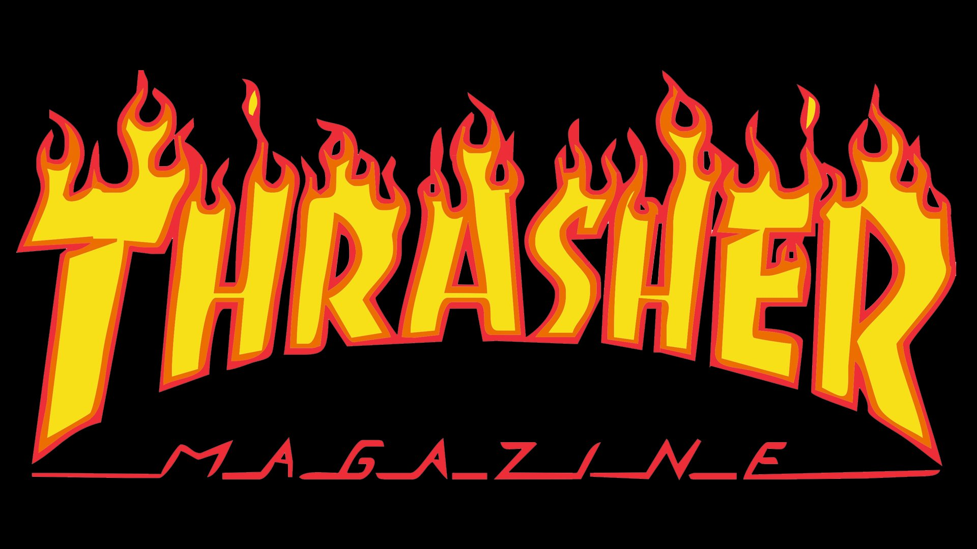 "53a9fc4ed1ff The logo is based on the wordmark. It features the word ""Thrasher"" in a  bold"