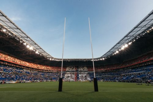 Rugby fans filling a stadium