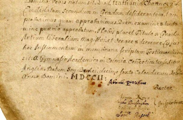 Yale diplom 1702
