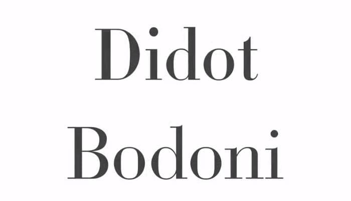 fonts Didot and Bodoni
