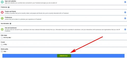 Download an archive of information about yourself from Facebook Step 5