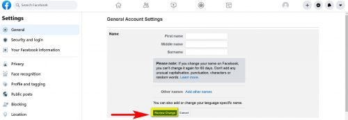 How to Change Your Facebook Name Web and App Step 5