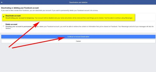 How to Deactivate Facebook Account Step 6
