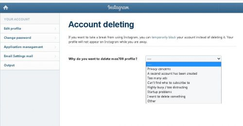 How to delete an Instagram acc from your PC Step 8