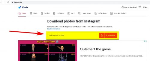 How to download a photo or video from Instagram iGrab Step 2