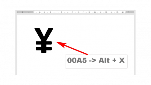 Japanese Yen in Word